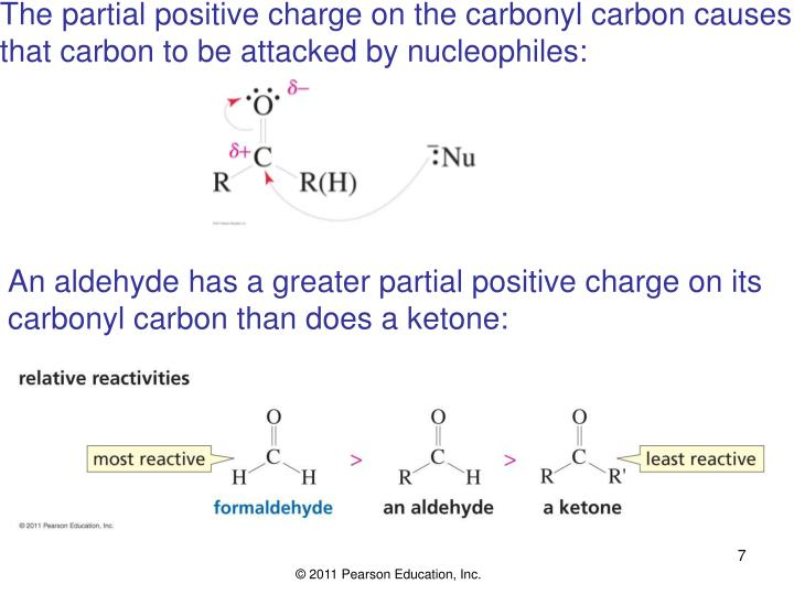 The partial positive charge on the carbonyl carbon causes