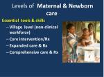 levels of maternal newborn care