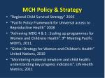 mch policy strategy