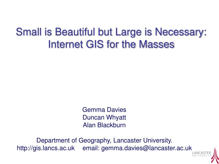 small is beautiful but large is necessary internet gis for the masses n.