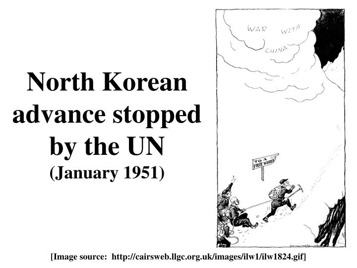 North Korean advance stopped by the UN