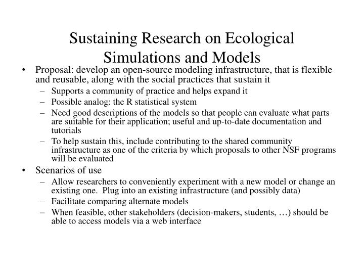 Sustaining Research on Ecological Simulations and Models