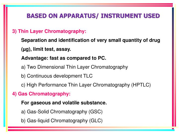 BASED ON APPARATUS/ INSTRUMENT USED