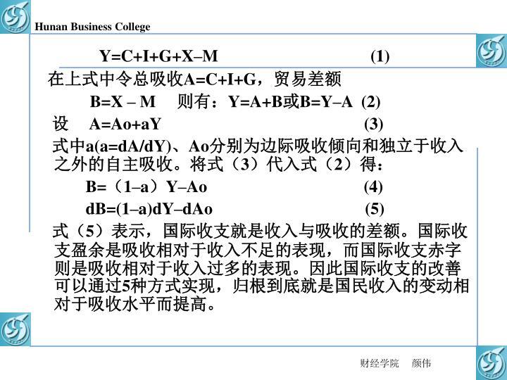 Y=C+I+G+X