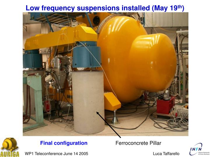 Low frequency suspensions installed (May 19