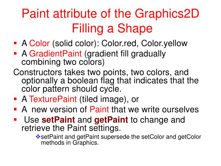 Paint attribute of the Graphics2D