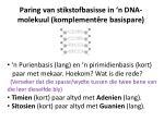 paring van stikstofbasisse in n dna molekuul komplement re basispare