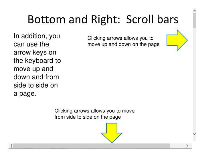 Bottom and Right:  Scroll bars