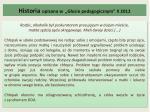historia opisana w g osie pedagogicznym x 2012