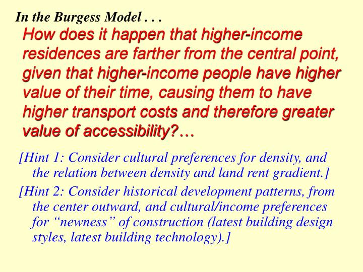 In the Burgess Model . . .