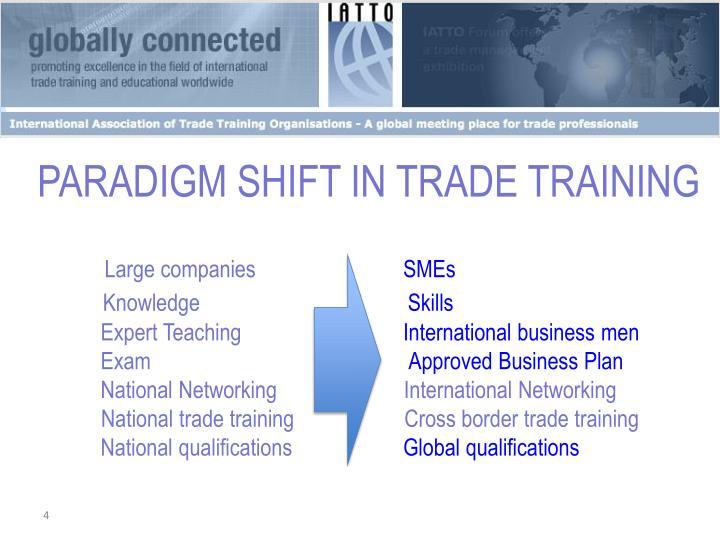 PARADIGM SHIFT IN TRADE TRAINING