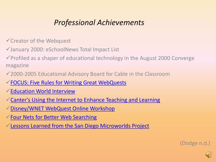 Professional Achievements