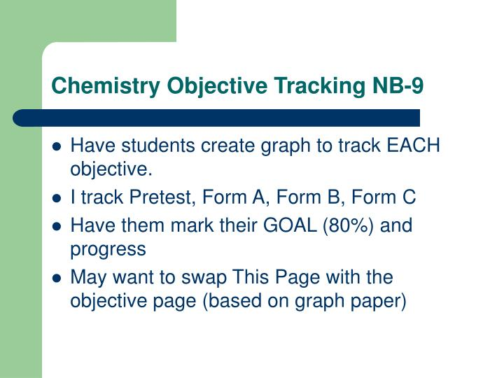 Chemistry Objective Tracking NB-9