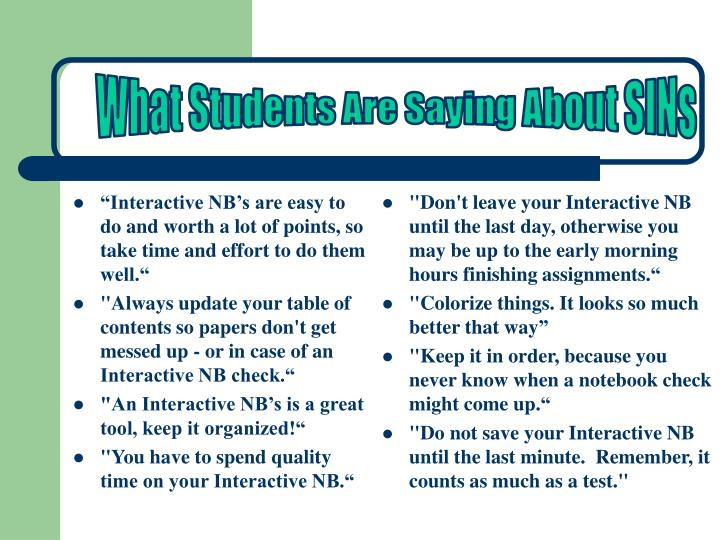 """Interactive NB's are easy to do and worth a lot of points, so take time and effort to do them well."""