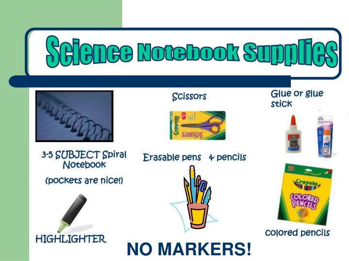 Science Notebook Supplies
