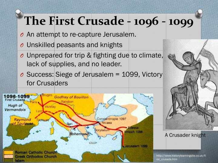 caused first crusade and success The first crusade (1095-1102 ce) was a military campaign by western  their shoulder to proclaim their obligation - was an amazing success  which were causing chaos as they crossed europe and the empire's territory.