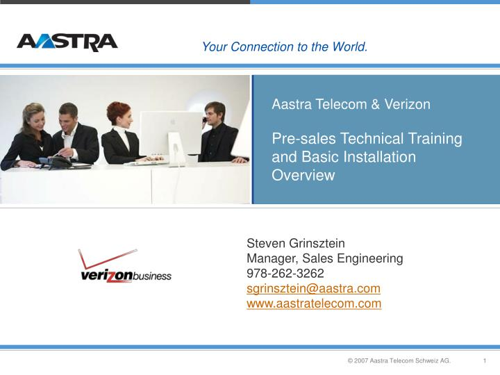 aastra telecom verizon pre sales technical training and basic installation overview n.