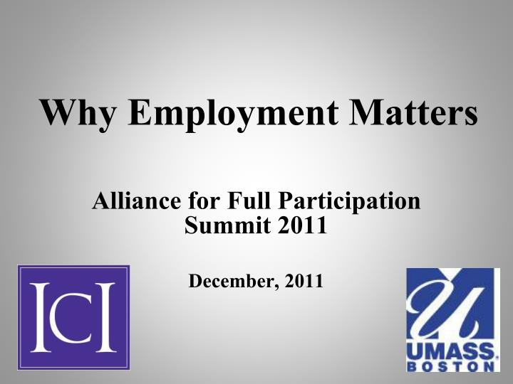 why employment matters n.