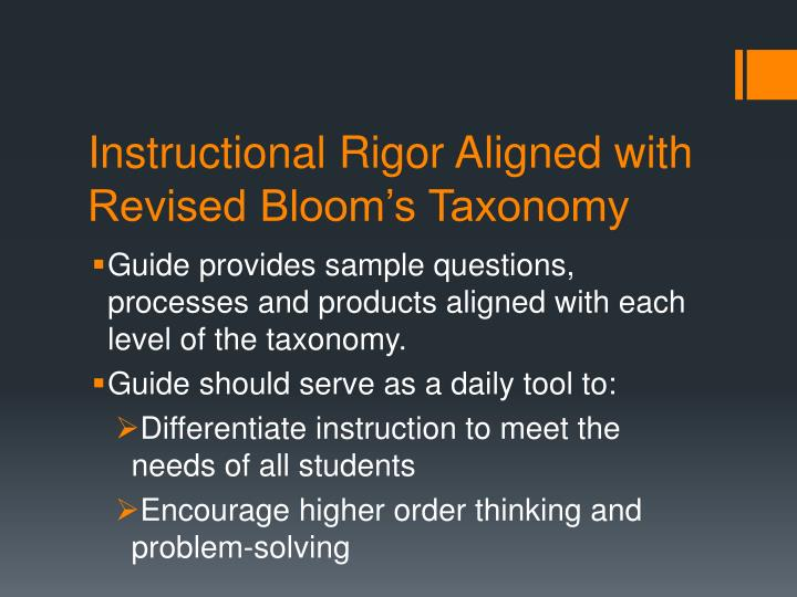 Instructional Rigor Aligned with Revised Bloom's Taxonomy