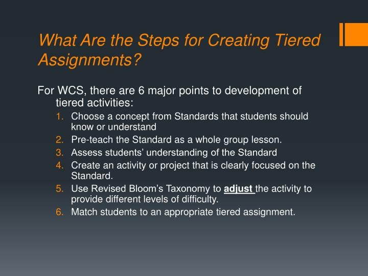 What Are the Steps for Creating Tiered Assignments?