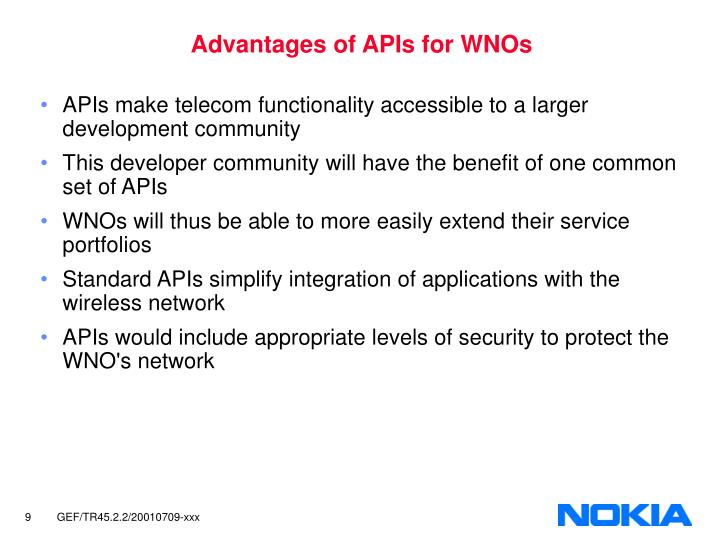 Advantages of APIs for WNOs