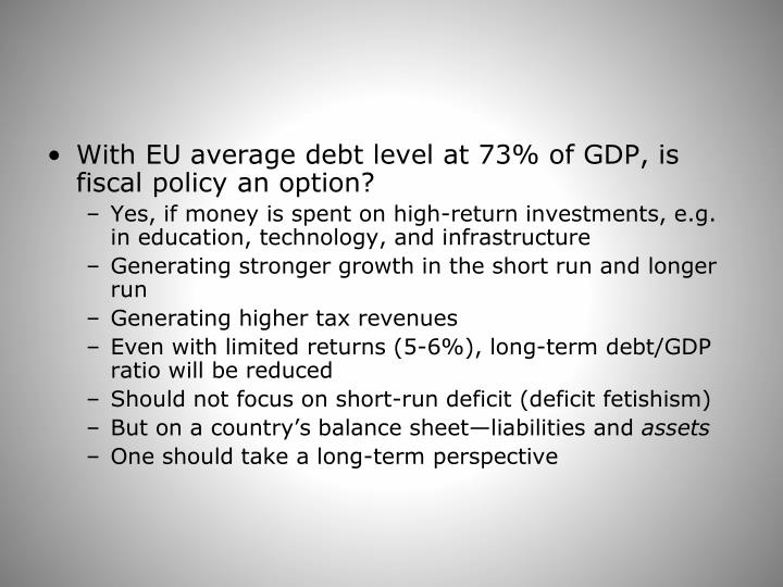 With EU average debt level at 73% of GDP, is fiscal policy an option?