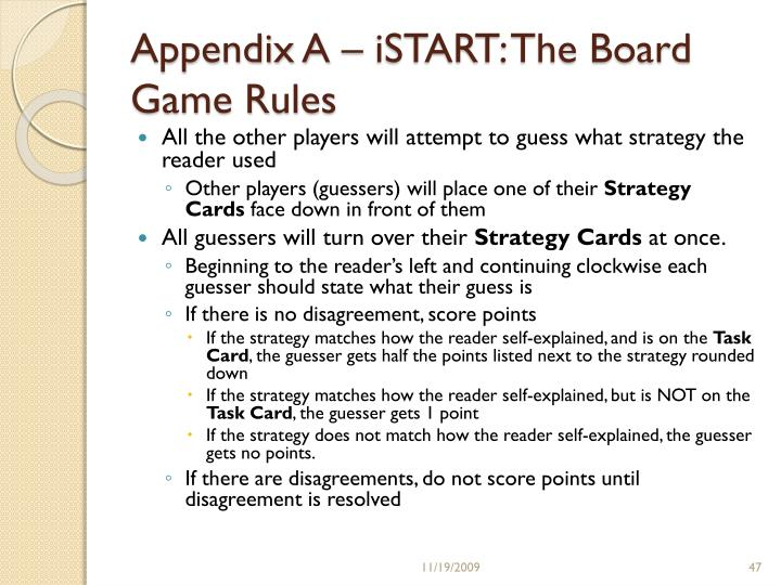 Appendix A – iSTART: The Board Game Rules