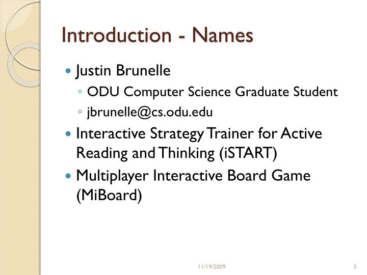 Introduction names