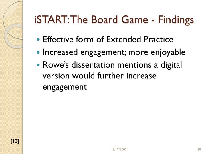 iSTART: The Board Game - Findings