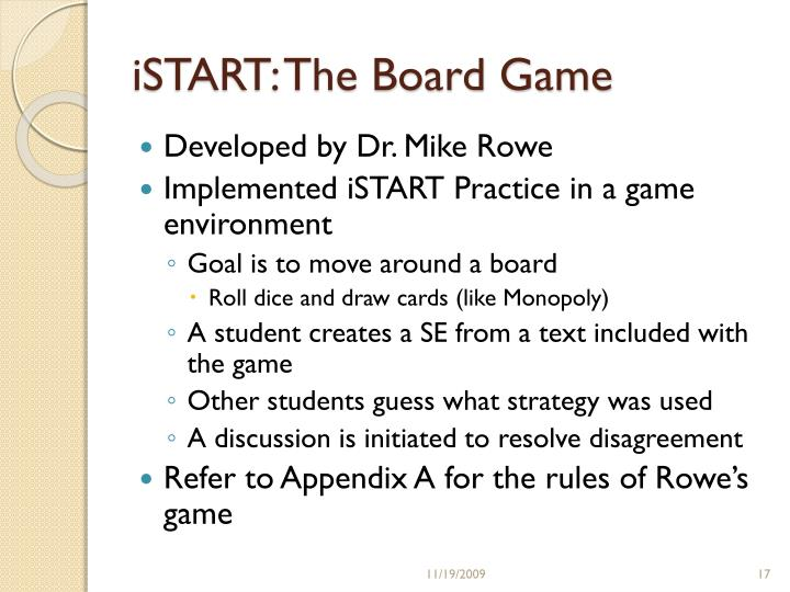iSTART: The Board Game