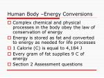 human body energy conversions