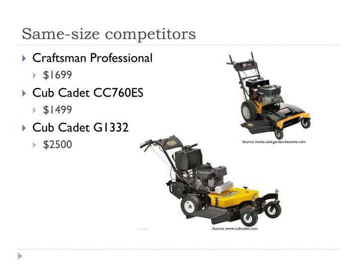 Same-size competitors
