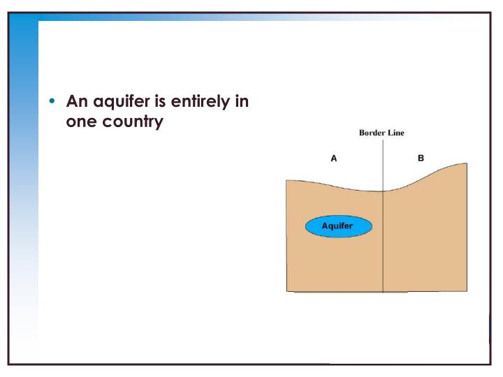 An aquifer is entirely in one country