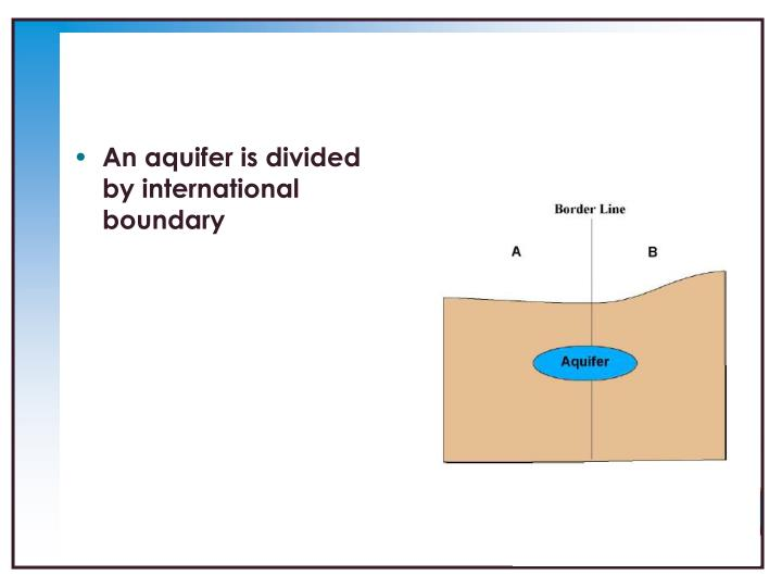 An aquifer is divided by international boundary
