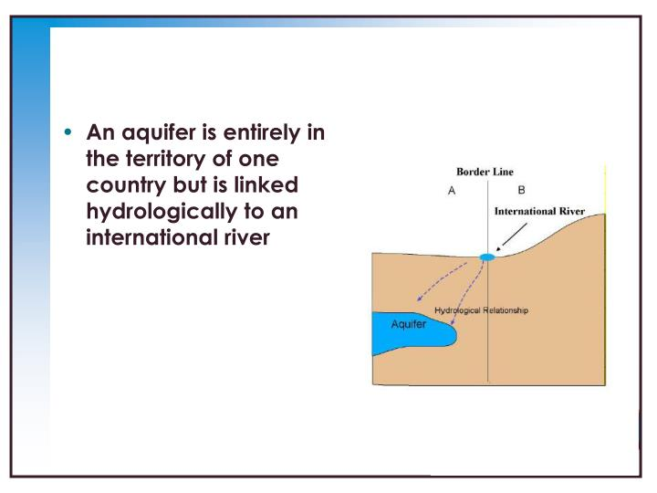 An aquifer is entirely in the territory of one country but is linked hydrologically to an international river