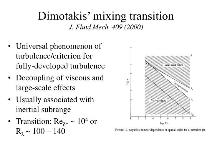 Dimotakis' mixing transition