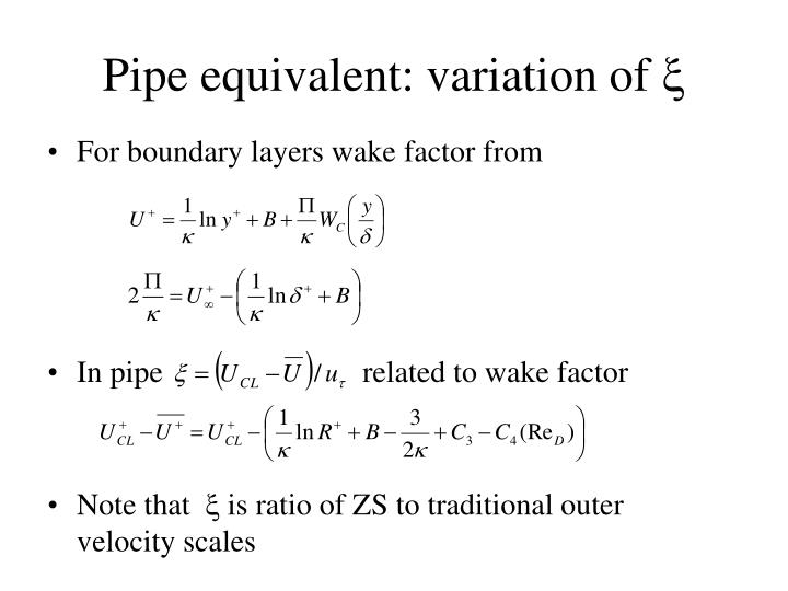 Pipe equivalent: variation of