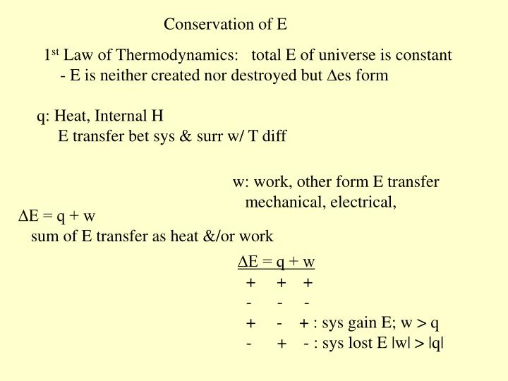 Conservation of E