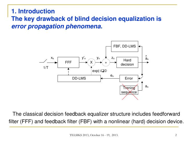 1 introduction the key drawback of blind decision equalization is error propagation phenomena