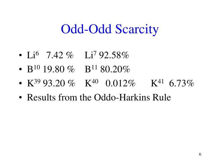 Odd-Odd Scarcity