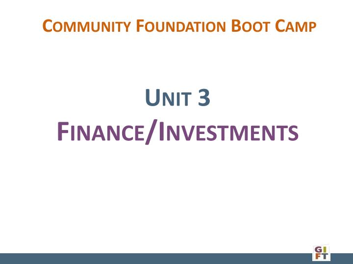 Community Foundation Boot Camp