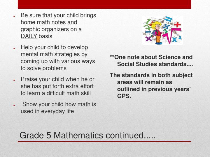 Grade 5 Mathematics continued.....