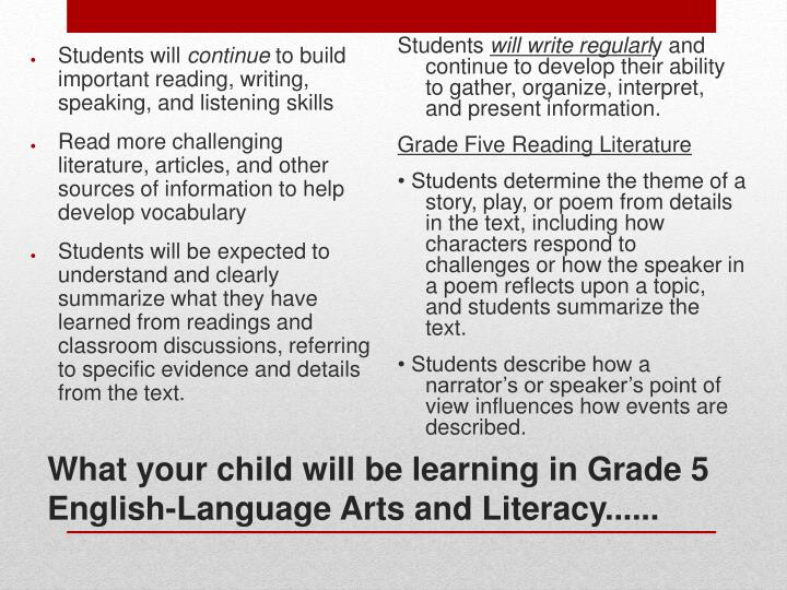What your child will be learning in Grade 5 English-Language Arts and Literacy......