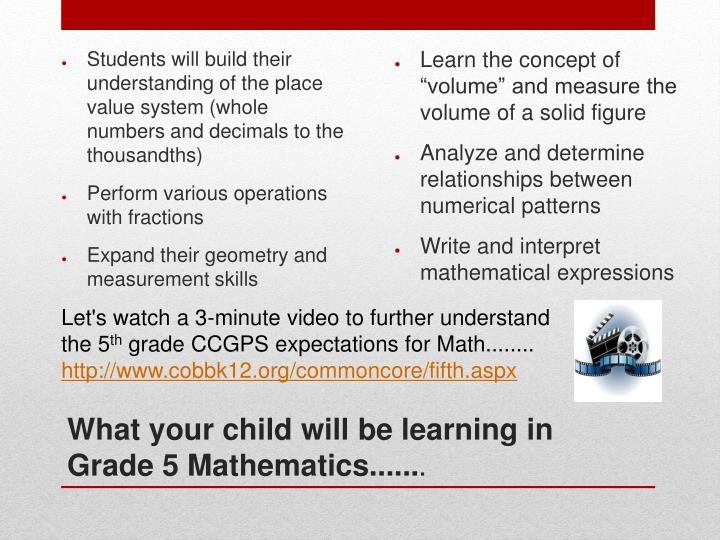 What your child will be learning in Grade 5 Mathematics......