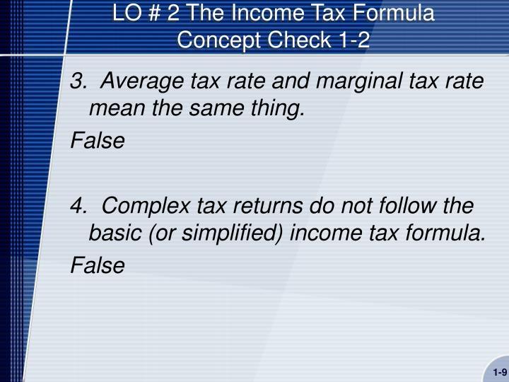 LO # 2 The Income Tax Formula