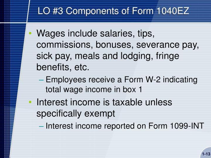 LO #3 Components of Form 1040EZ