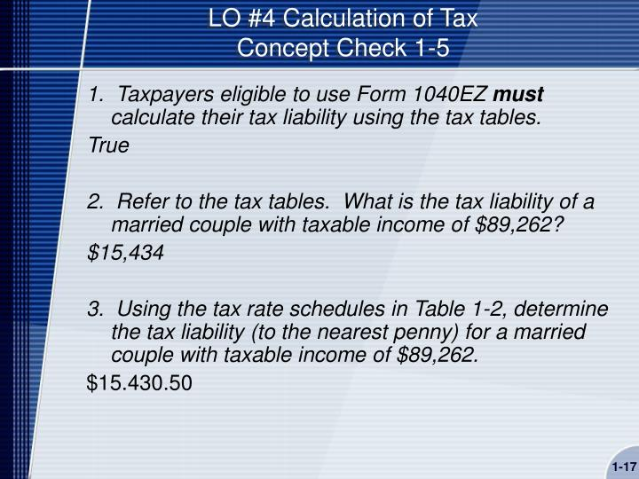 LO #4 Calculation of Tax