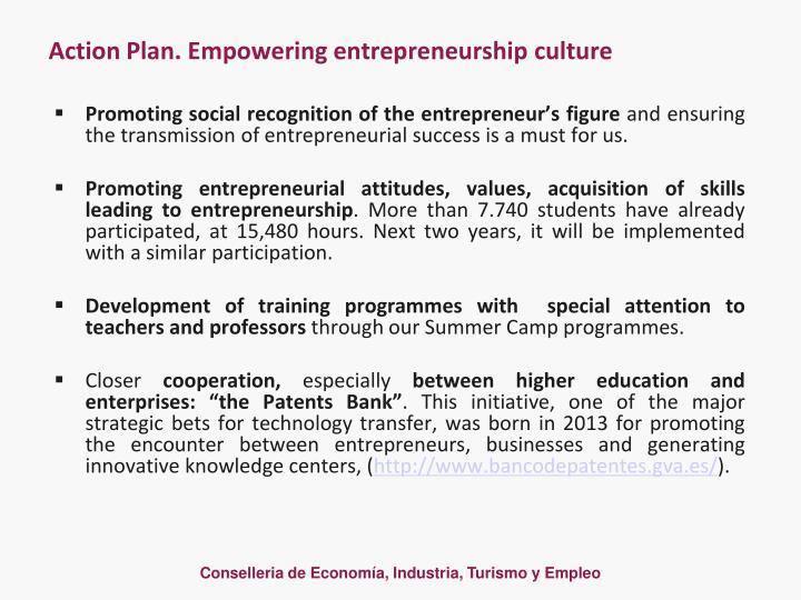 Action Plan. Empowering entrepreneurship culture