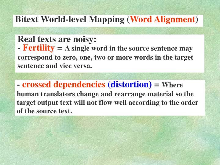 Bitext World-level Mapping (