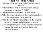 read nytimes article despite warnings 3 vow to go ahead on human cloning